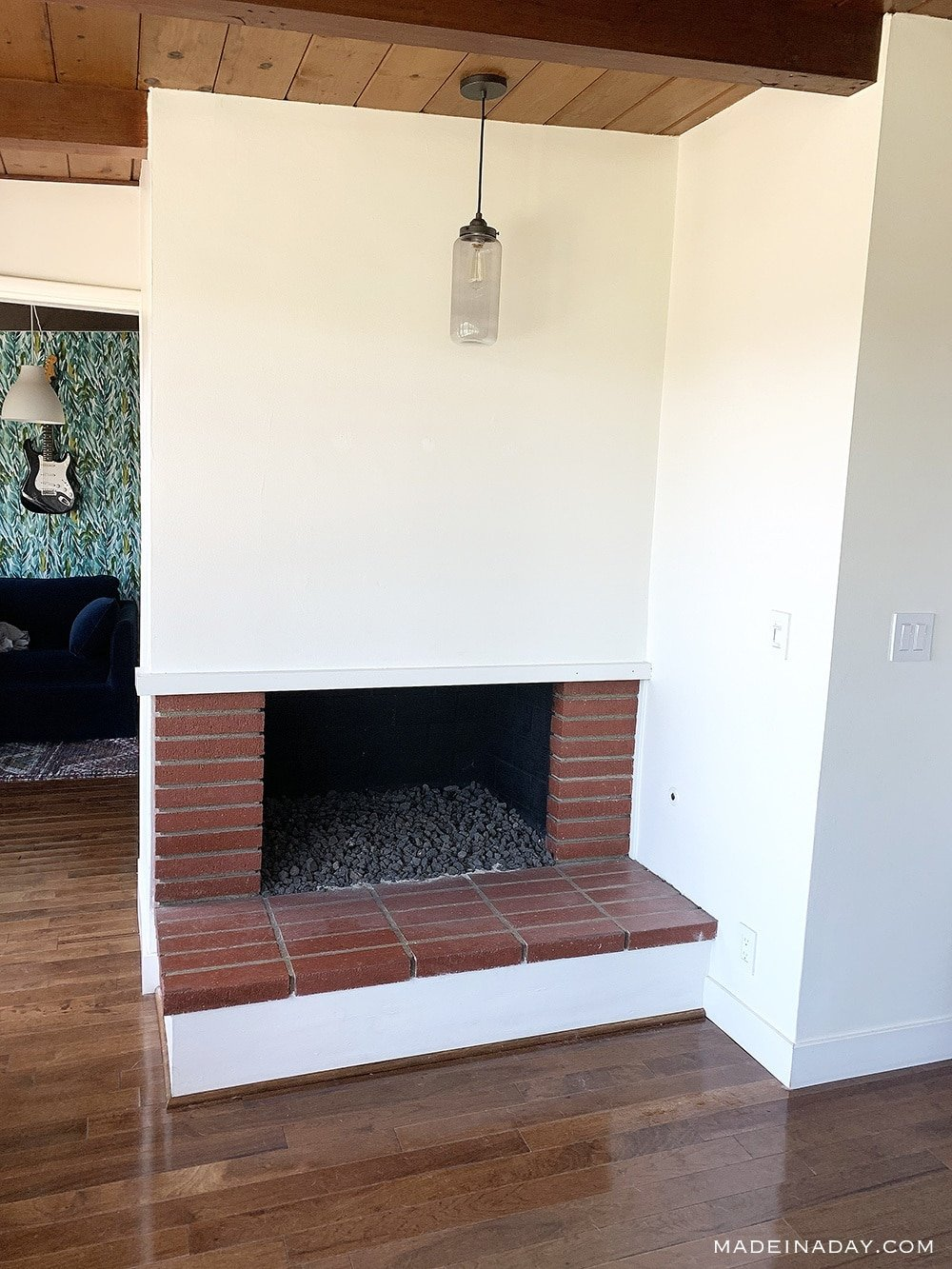 White Fireplace, white 1950 fireplace, California bungalow fireplace, red brick fireplace