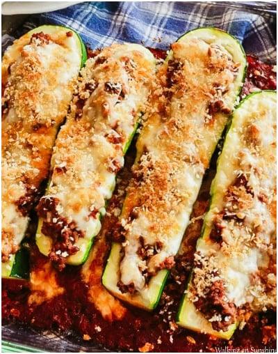 Stuffed Zucchini With Beef & Cheese
