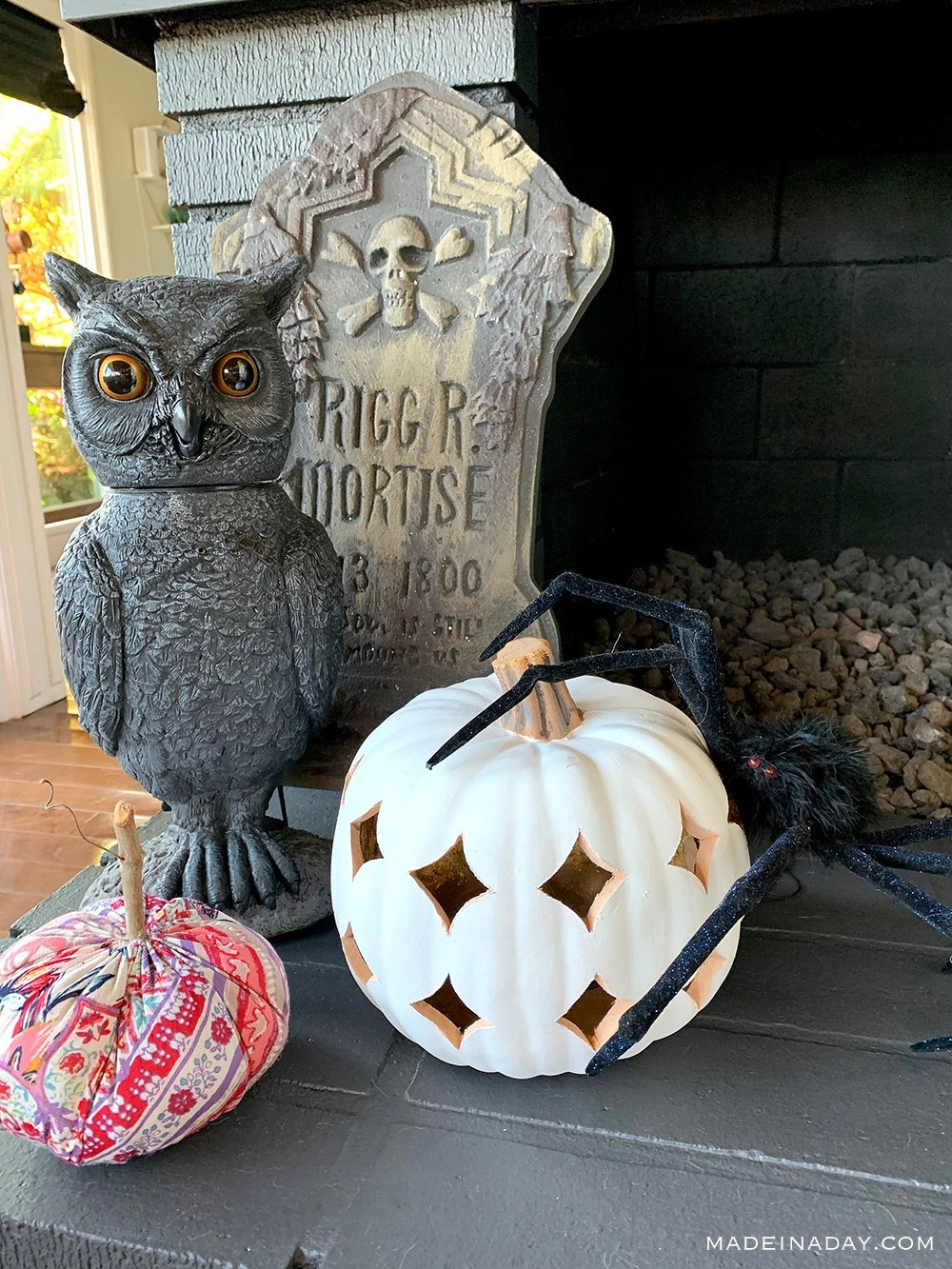 Animated owl, boho pumpkin lantern,  Boho fabric pumpkin