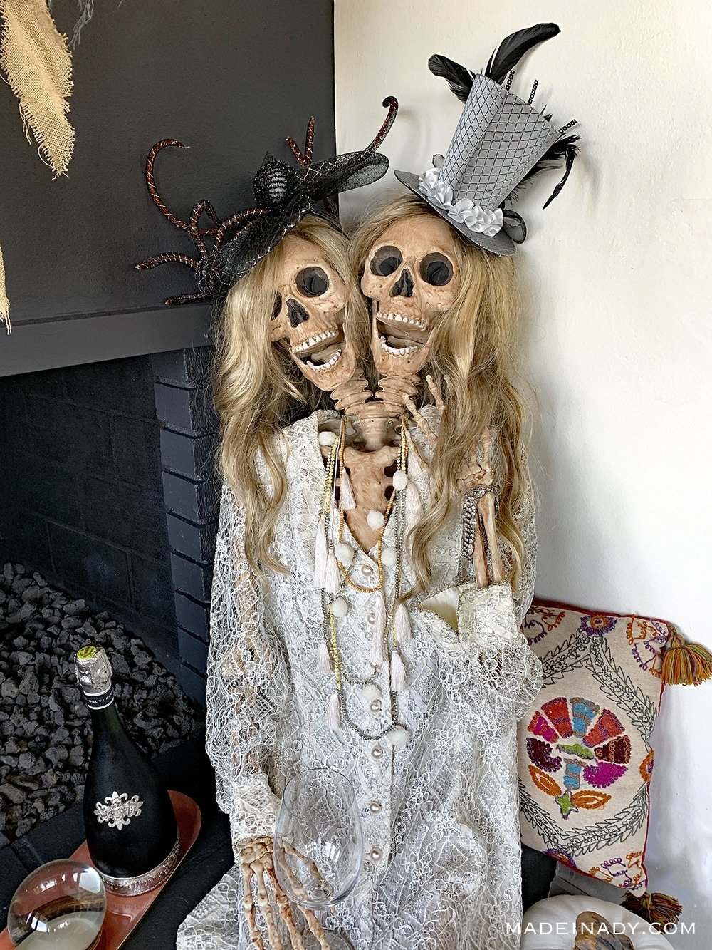2 Headed Skeleton, Boho halloween Skeleton,