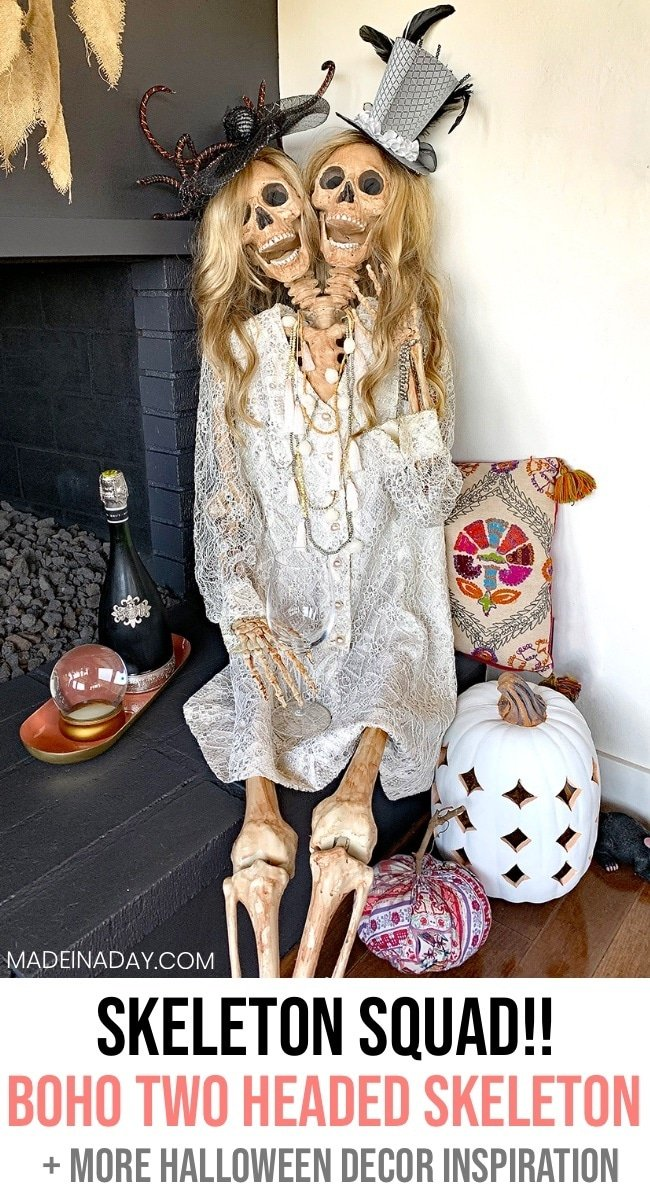 Two headed skeleton, boho Halloween decor, Bohemian Halloween