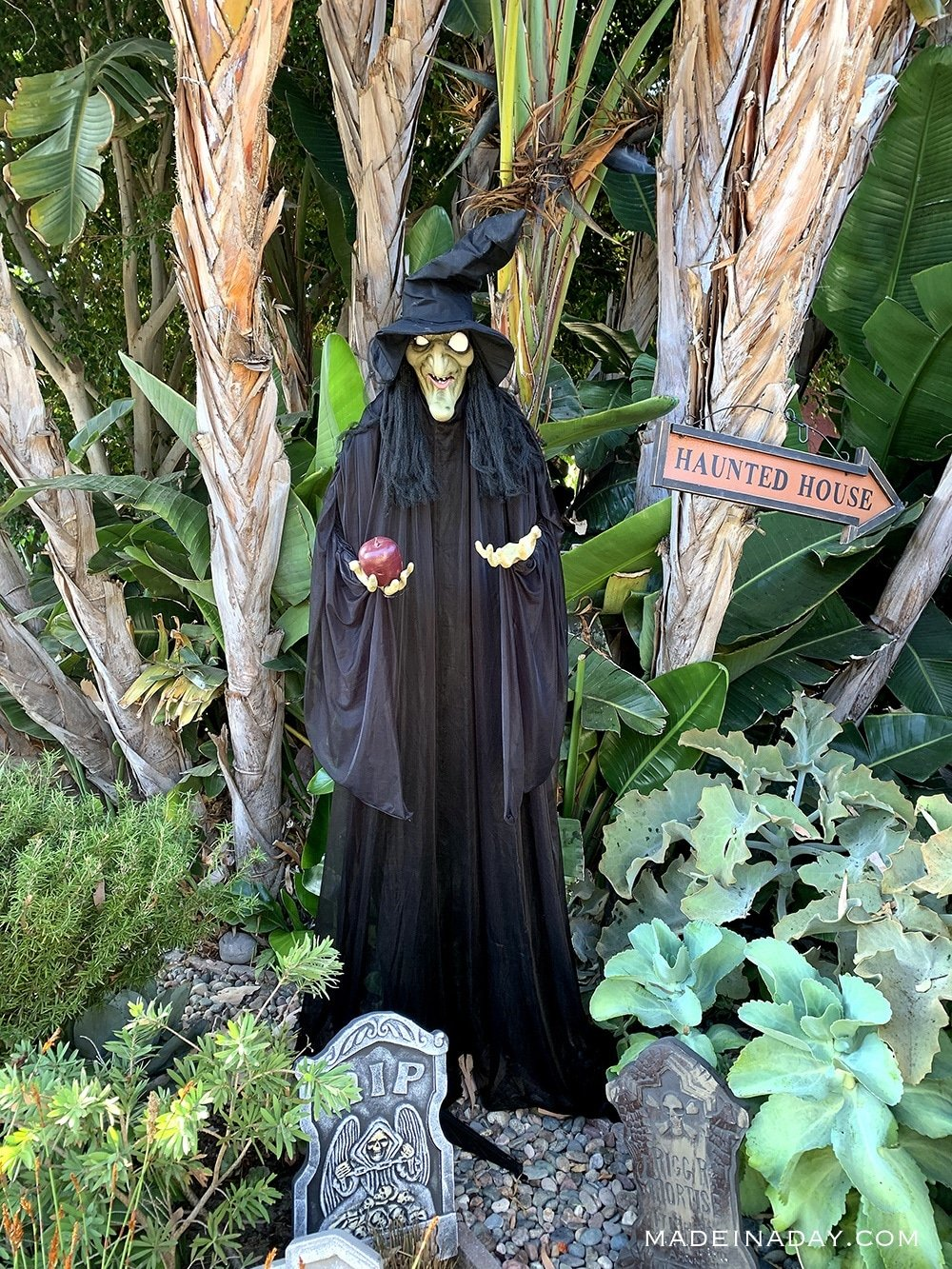 Animated Witch with Apple Halloween Decoration, Witch yard haunt, Sleeping Beauty Halloween Decor Animated Witch
