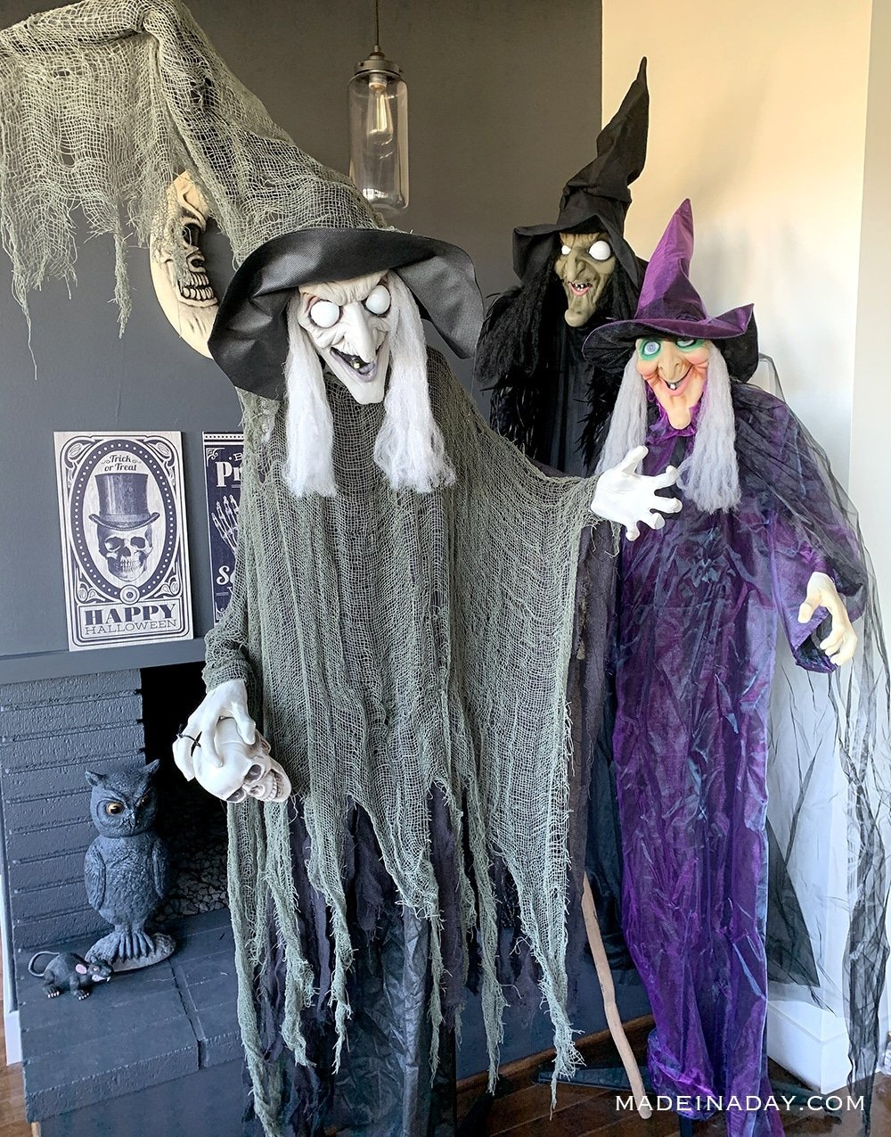 Three witch decorations, Sanderson Sisters, halloween witch animated decor