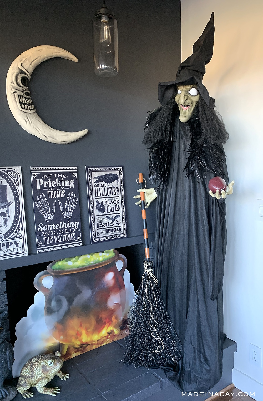 Creepy storybook witch halloween prop, witch and cauldron props