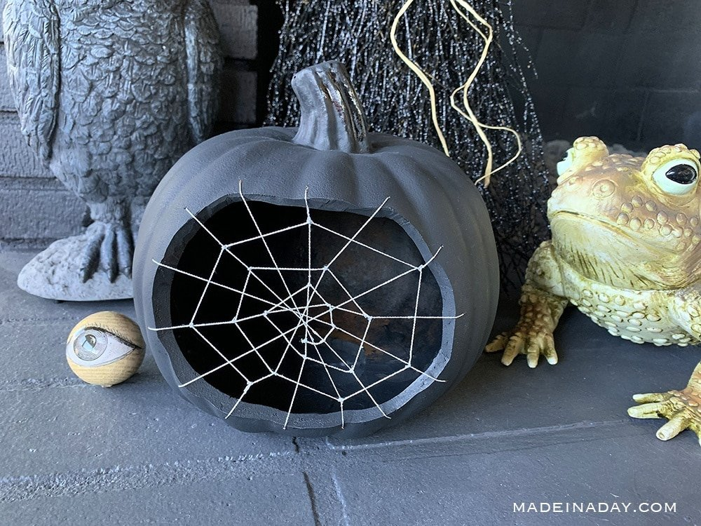Halloween Cobweb Pumpkin, Halloween Spiderweb Pumpkin, Black pumpkin