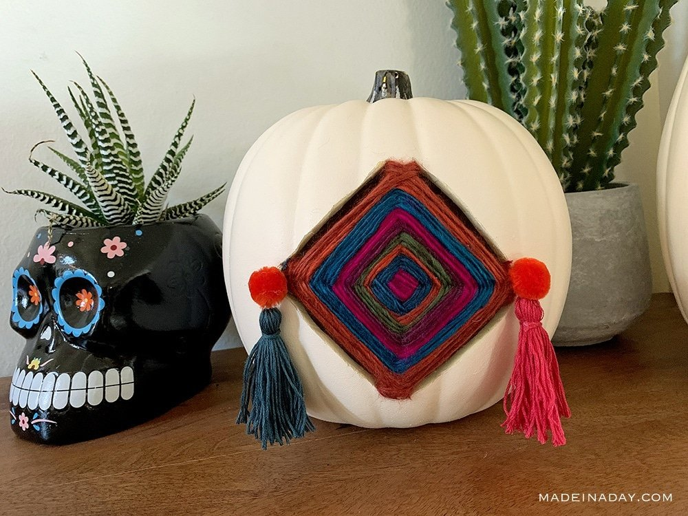 Ojos de Dios pumpkin, tassel pumpkin, bohemian pumpkin, Global pumpkin, Dreamcatcher pumpkin Mexican Pumpkin, Gods Eye pumpkin