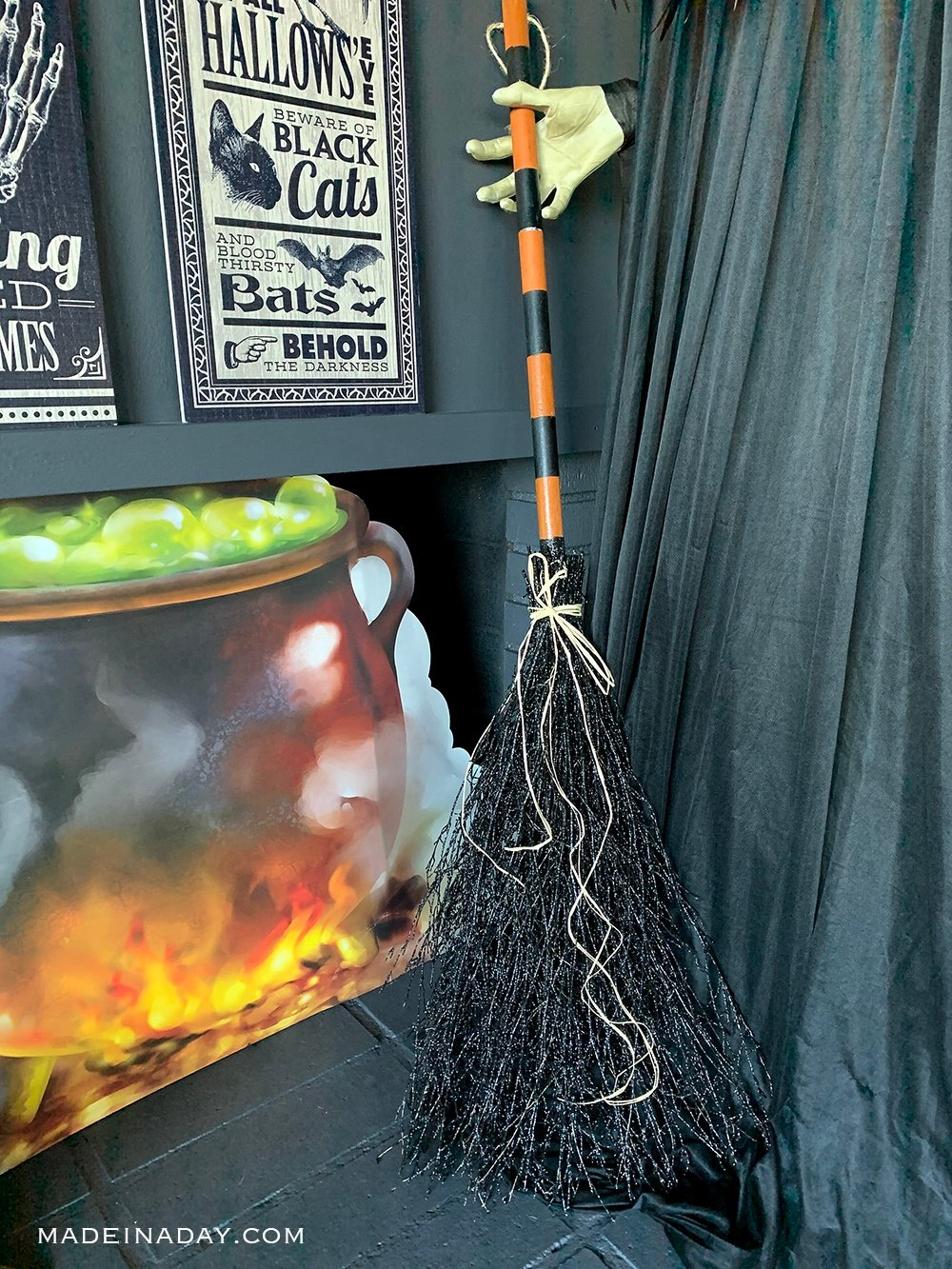 cut out cauldron, spooky witch cauldron, bubbling cauldron prop, witches broomstick prop, Halloween Broomstick