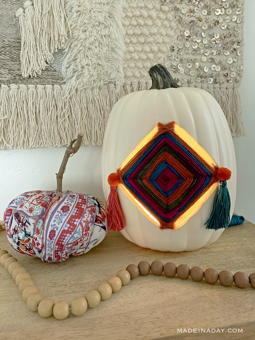 Gods Eye Pumpkin Lantern Luminaries, Boho Tassel Pumpkin, Yarn Stitched pumpkin