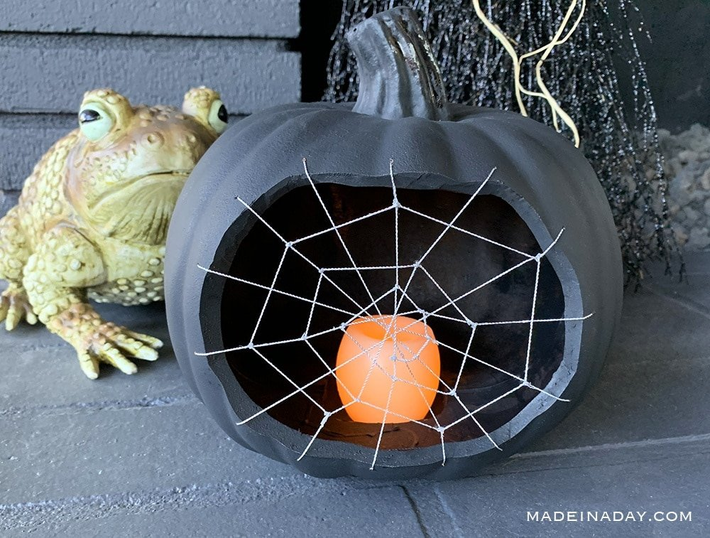 Cobweb Pumpkin, Black Cobweb Pumpkin Halloween decoration, Cobweb Lantern,