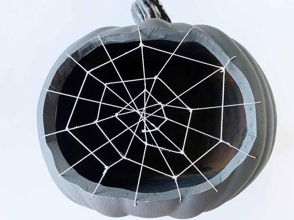 spiderweb woven on a pumpkin, cobweb pumpkin,