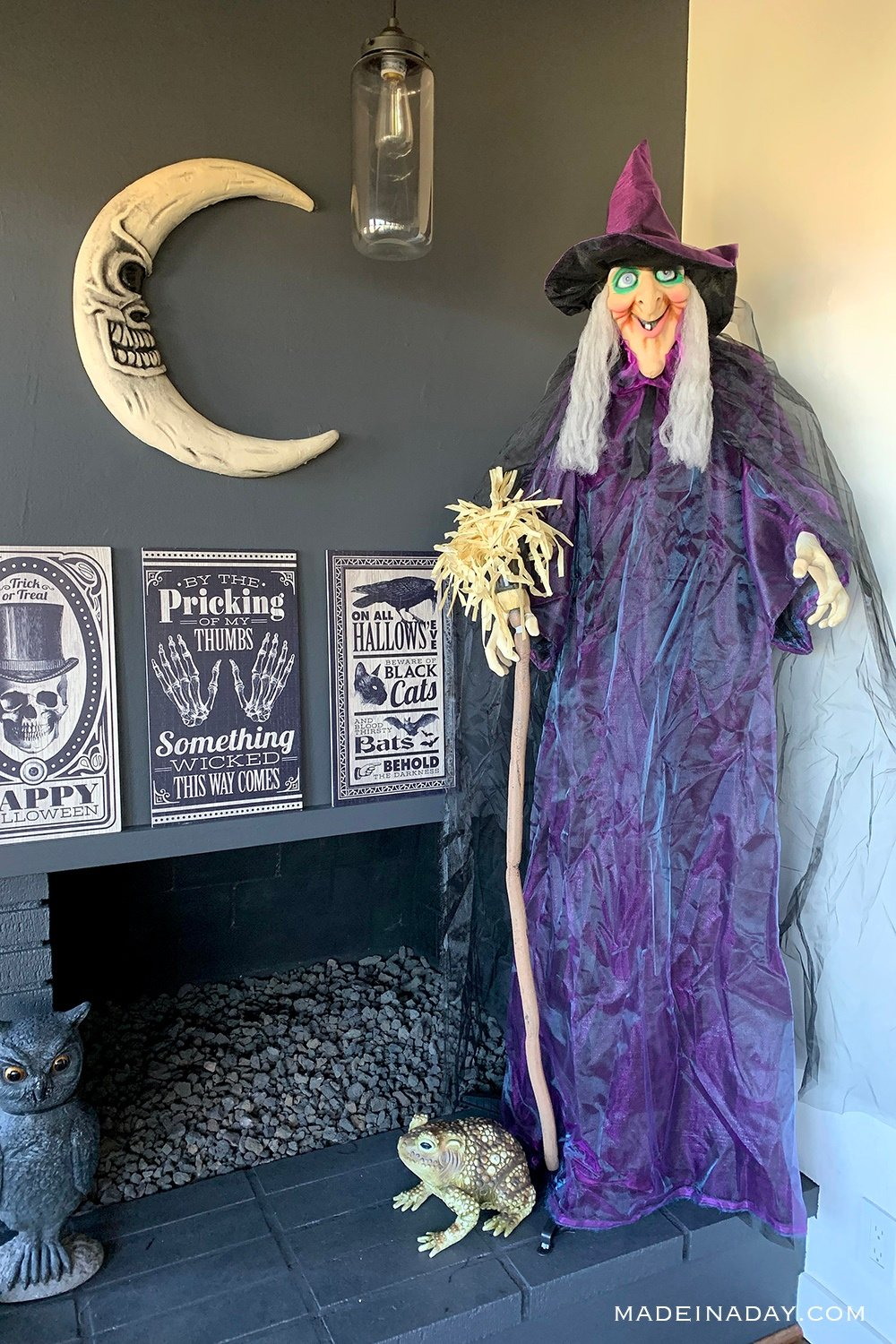 purple old lady witch, animated witch with broom, cute halloween witch decorations