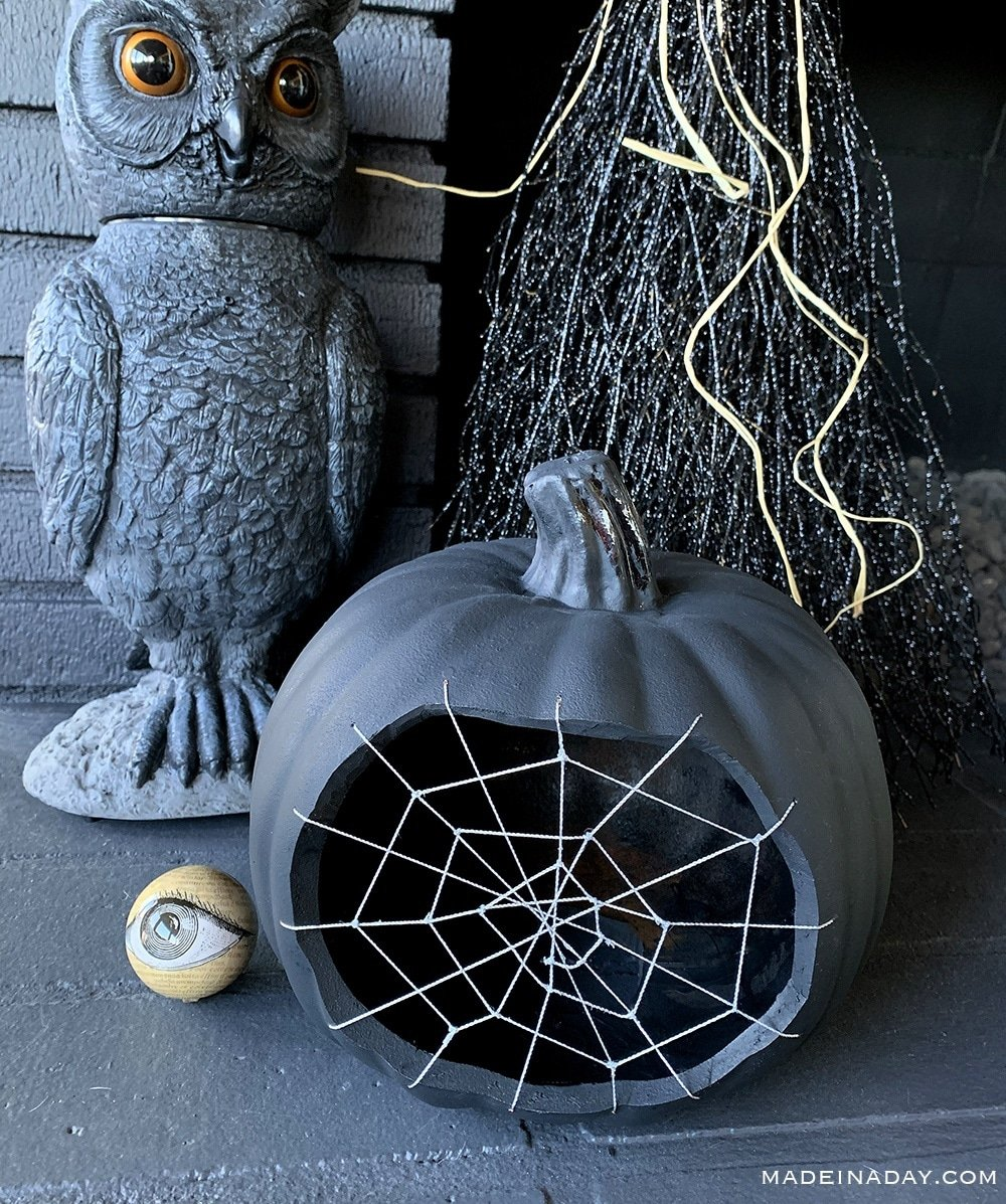 Spiderweb pumpkin, sCobweb Pumpkin, Stitched Spider web pumpkin, black spiderweb pumpkin carving