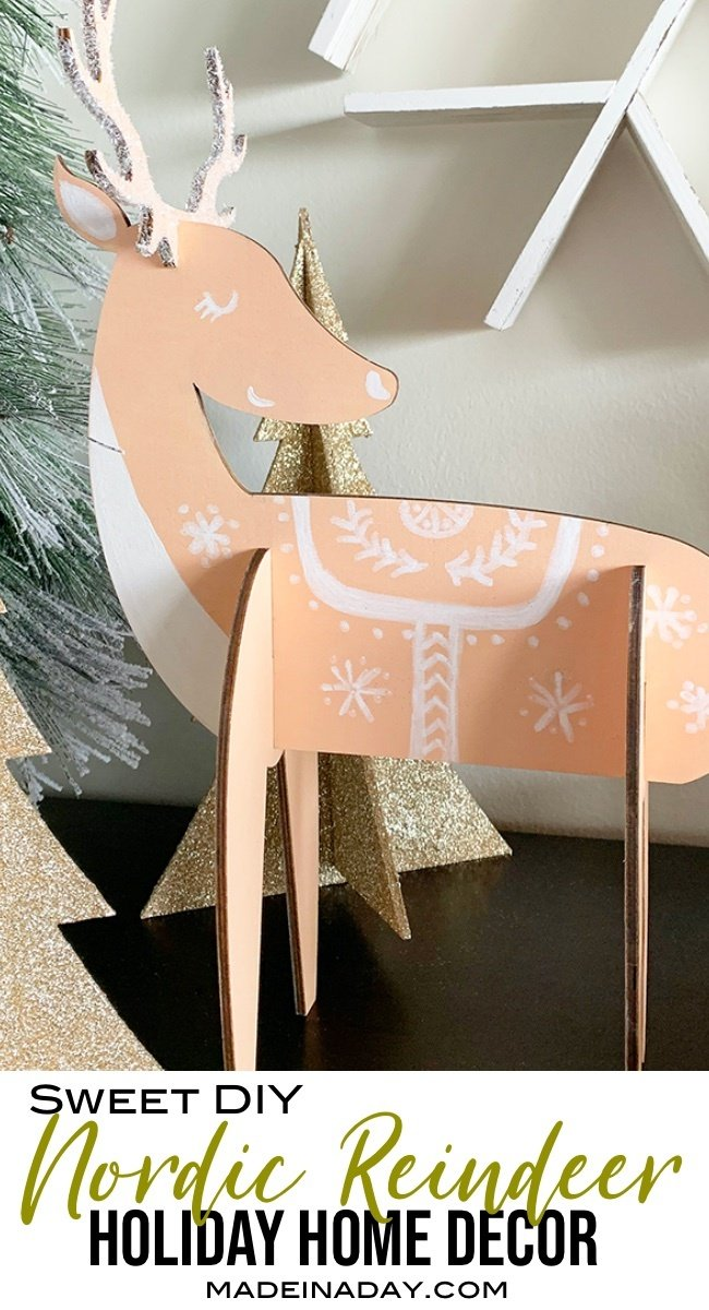Charming Nordic Reindeer Holiday Decor, Scandinavian reindeer,