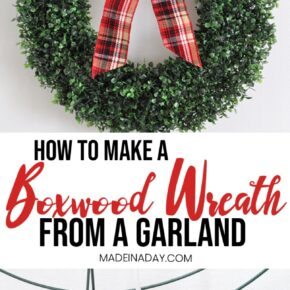 Gorgeous DIY Boxwood Wreath from a Garland 1