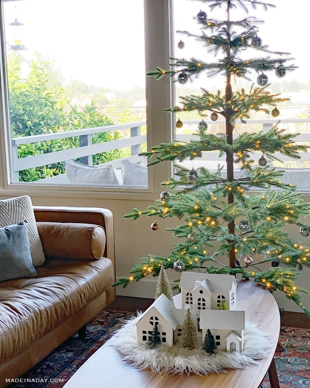 Skinny Sparse Christmas Tree, Mid Century Modern Holiday