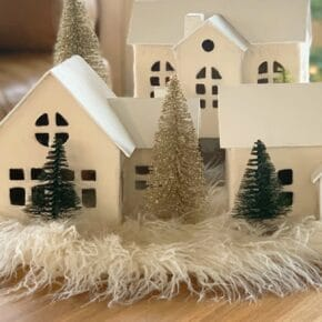 Cozy White Nordic Christmas Village Houses 1