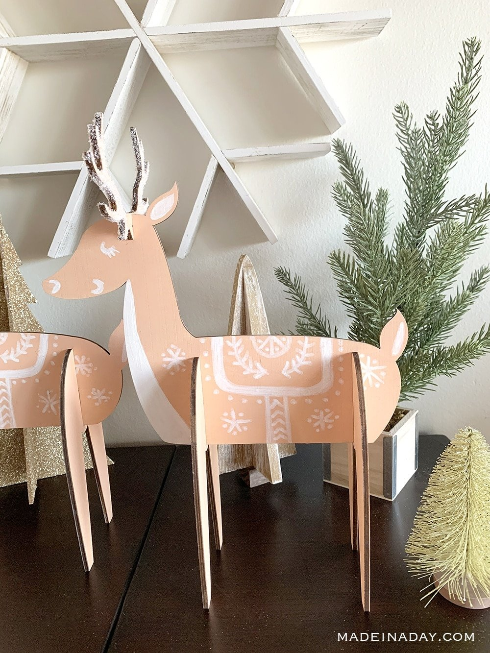 glittered Nordic deer holiday decor