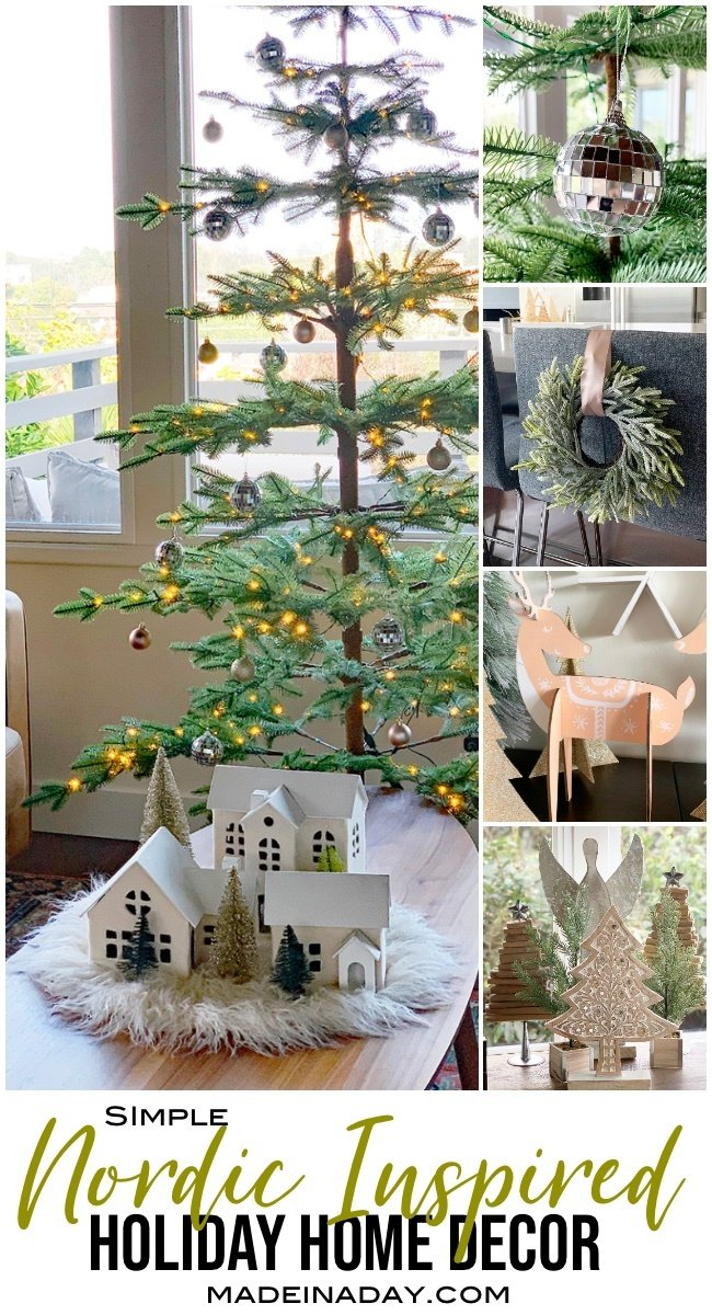 Creating Simple Scandinavian Style Holiday Decor #ad Nordic holiday decor, nordic reindeer, sparse Christmas tree, mid-century modern Christmas, minimal Christmas, white Christmas village, Wreath on bar stool, disco ball ornament #christmasdecor #holidaydecor #Nordicholidaydecor #Nordicreindeer #discoball #scandinavainholidaydecor #sparse #modernChristmas #minimalChristmas #DIYChristmasDecor #nordic #orientaltrading #OTCChristmas #OTCCheerSquad