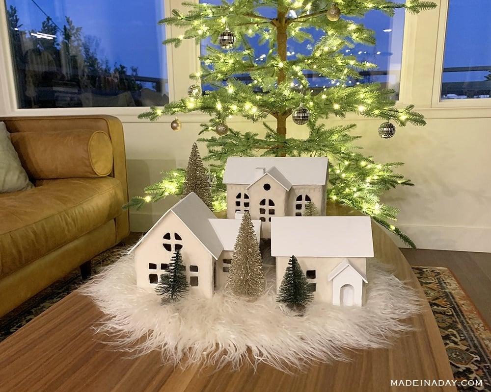 Scandinavian Christmas village centerpiece