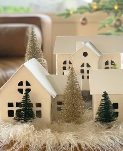 Cozy White Nordic Christmas Village Houses 1