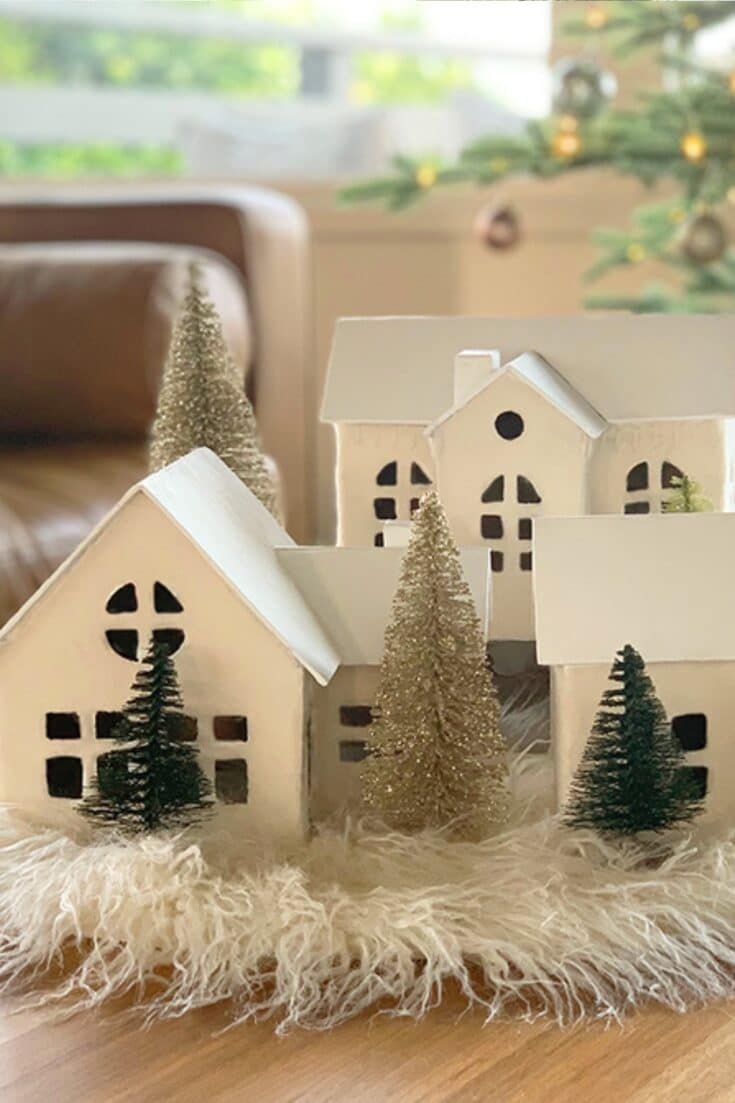 Cozy White Nordic Christmas Village Houses