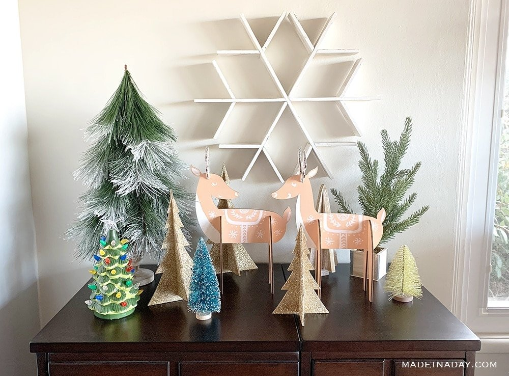 DIY Nordic Deer decor, Vintage Deer Holiday Decor,