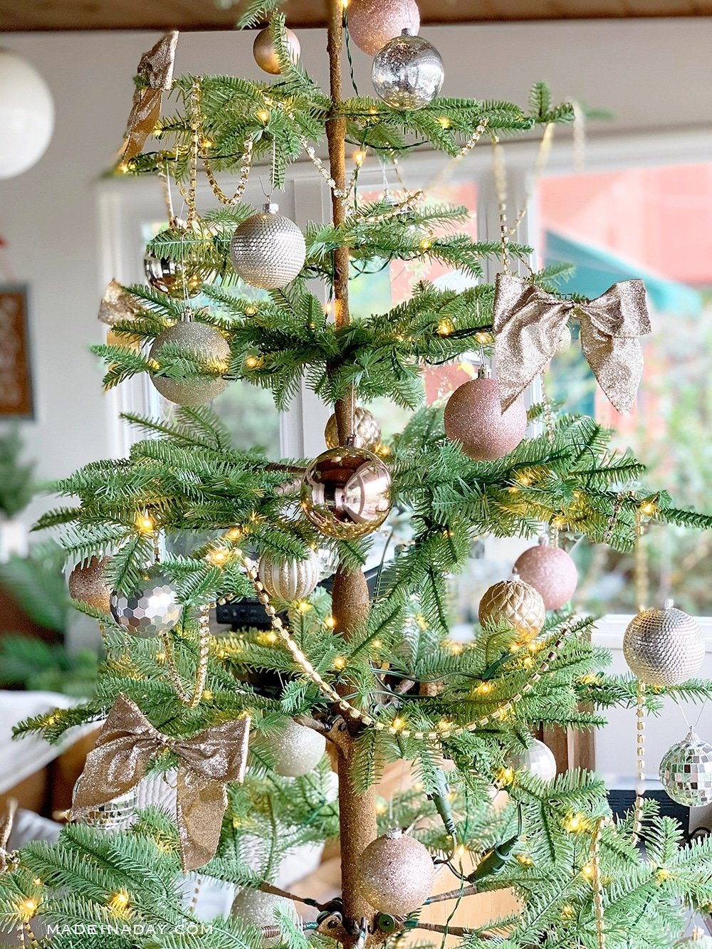 Champagne Gold Ornaments, Jeweled Crystal Christmas Tree Garland, Champagne gold bows, Sparse Skinny Christmas Tree