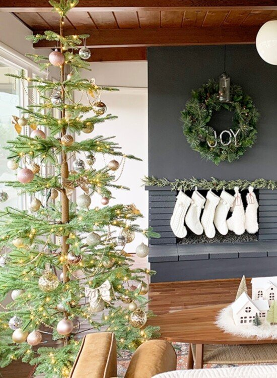 Sparkling Champagne Gold Sparse Christmas Tree 8