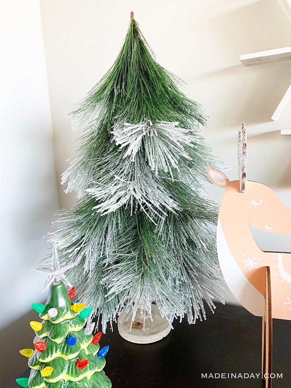 DIY Flocked Christmas Tree, Flocked Christmas Tree Figurine, Flocked Pine tree figurie