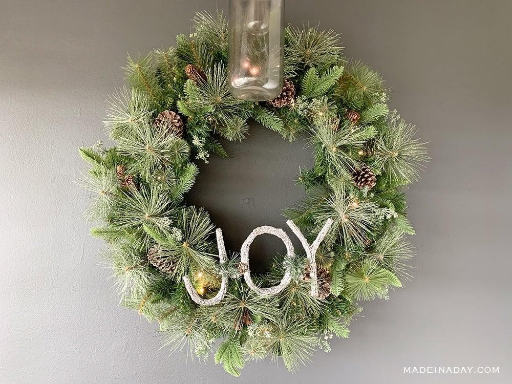 36 inch pre lit frosted fir wreath, Fairy light Christmas Wreath, Pine Christmas wreath