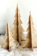 DIY Shimmering Champagne Glitter Christmas Trees 2