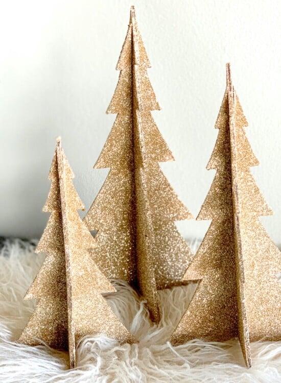 DIY Shimmering Champagne Glitter Christmas Trees 31
