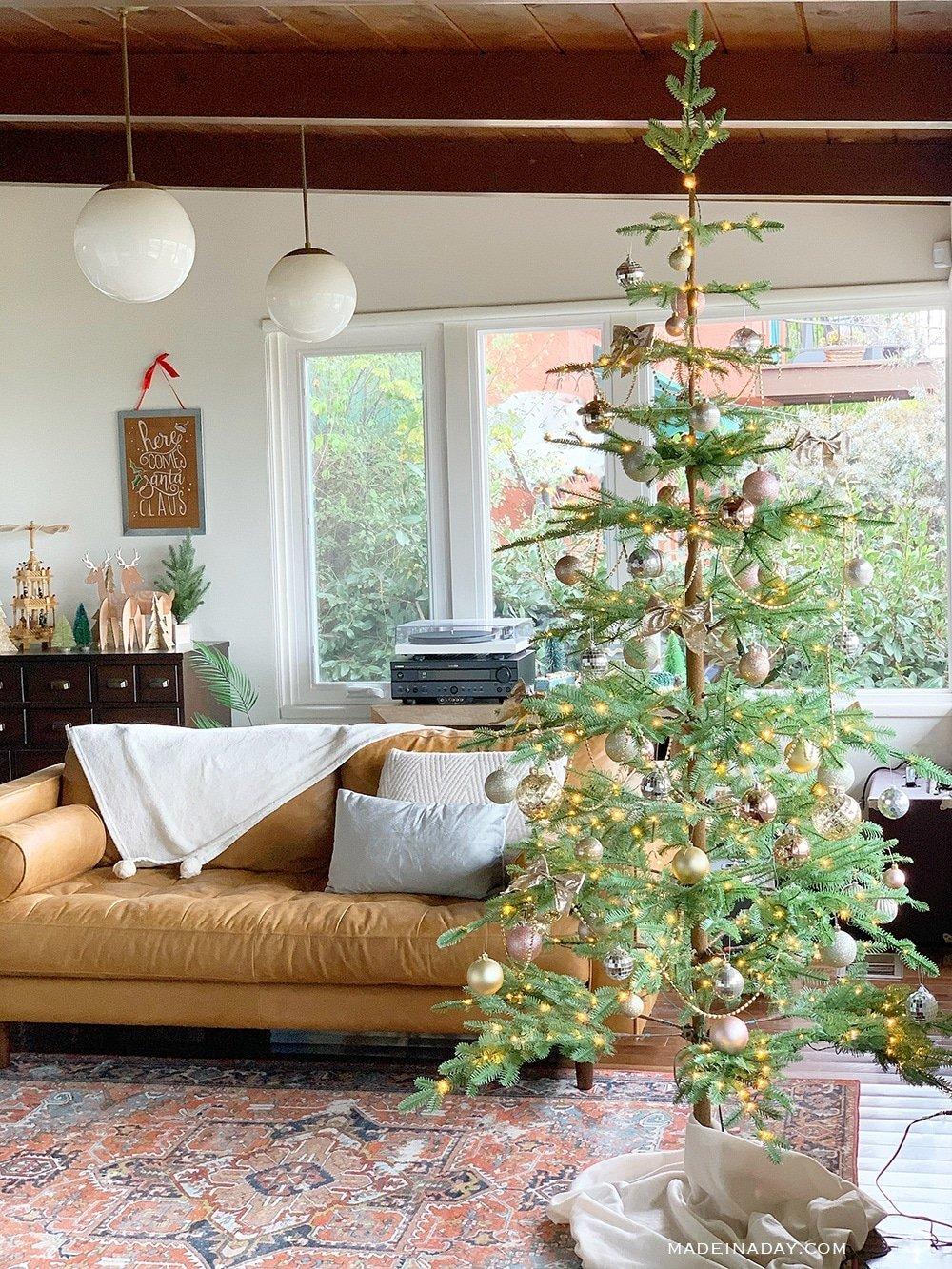 Minimal Sparse Christmas tree, Pink Bohemian Christmas tree, Sparse modern Christmas tree, modern boho Christmas