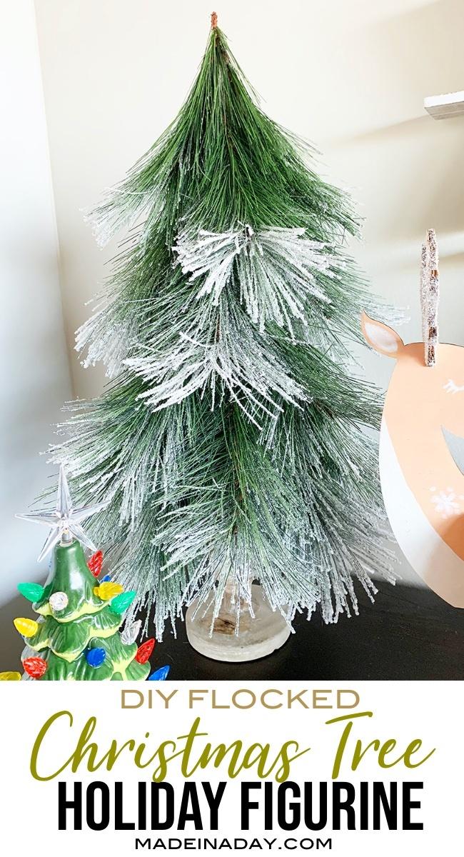 Snowy Pine Flocked Christmas Tree Figurine, mini Christmas tree, small Christmas tree, tabletop Christmas Tree, DIY Pine tree, #ChristmasTree #Holidaytree #DIYChristmasDecor #Mini #flocked #snowy #pinetree #Nordictree #Treefigurine #ChristmasTreeFigurine #Conetree