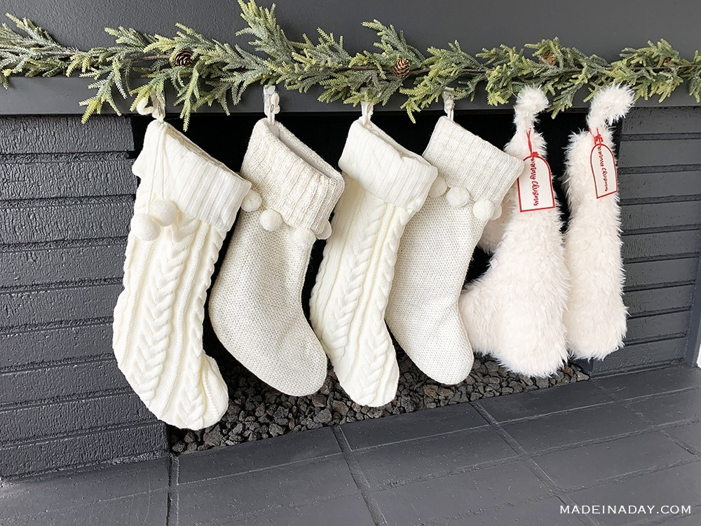 white cable knit stockings, Pom pom stockings, white sherpa stockings