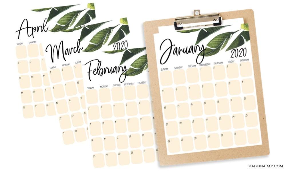 Printable Tropical Palm leaf Calendar, plant calendar