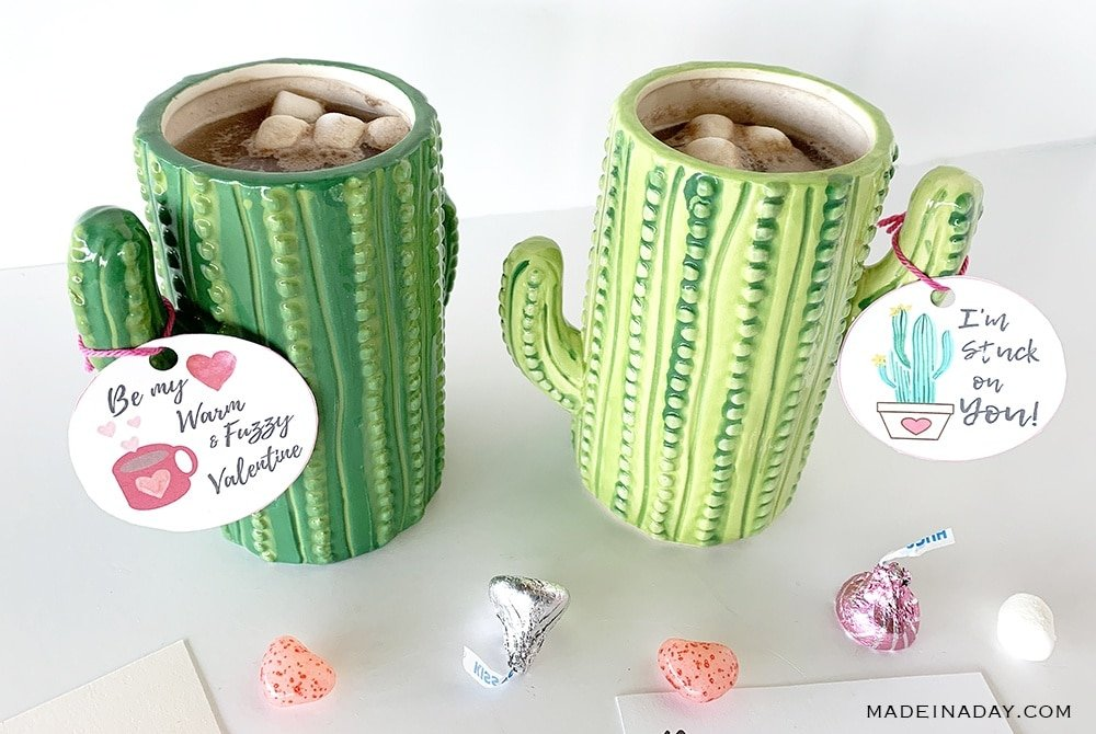 Cactus Valentine Printables, Hot Chocolate Valentines