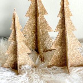 DIY Shimmering Champagne Glitter Christmas Trees 29