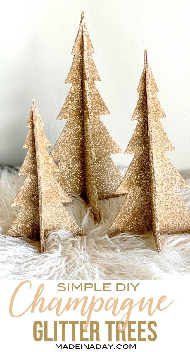 DIY Shimmering Champagne Glitter Christmas Trees, how to apply glitter, rose gold glitter trees, champagne gold Christmas trees, glitter trees, #glitter #christmasdecor #glittertrees #champagnegold #rosegold #Christmastree #woodtree #DIY #holidaydecor #champagne