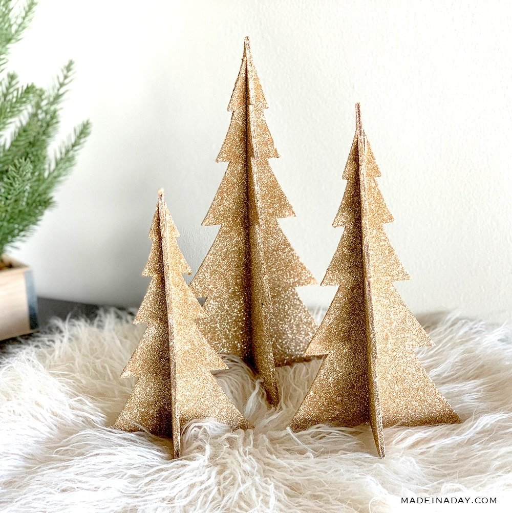 champagne glitter trees, how to make glitter trees,