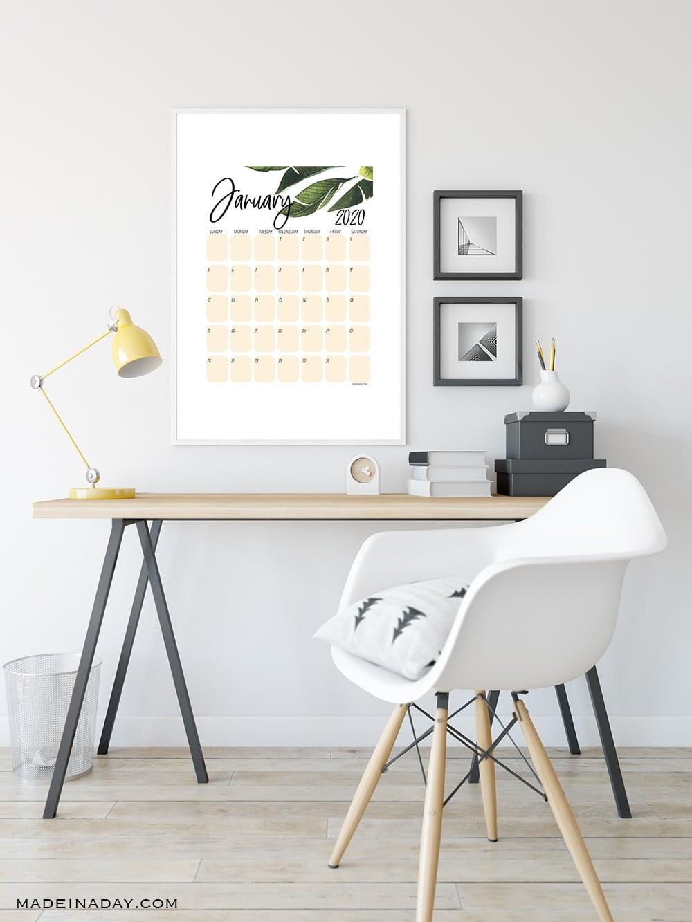 printable calendar, green leaf calendar, tropical calendar