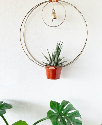 Gold Hanging Hoop Planter Chime 32
