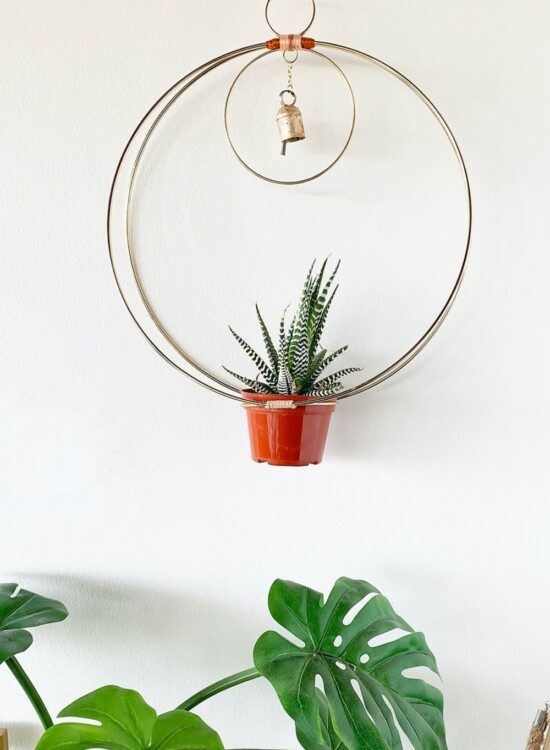 Gold Hanging Hoop Planter Chime 4