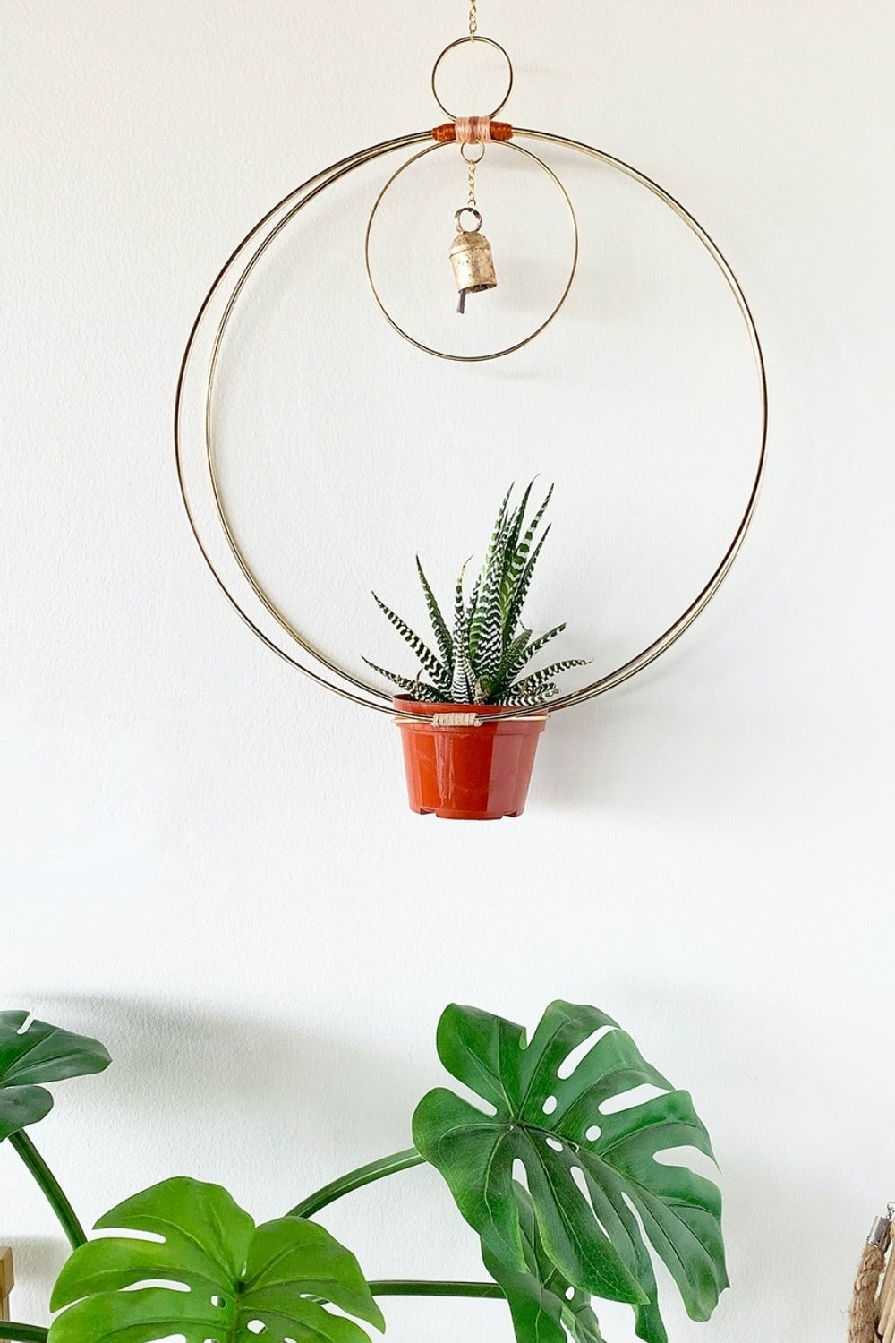Gold Hanging Hoop Planter Chime 48