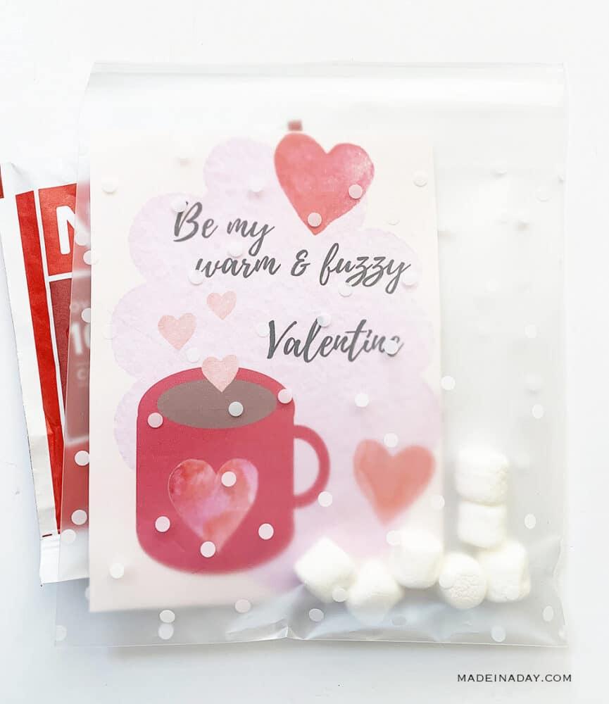 Hot chocolate valentine card, printable hot cocoa valentine card