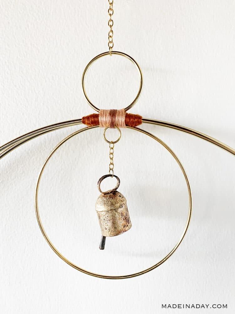 hoop wind chime, vintage bell wind chime