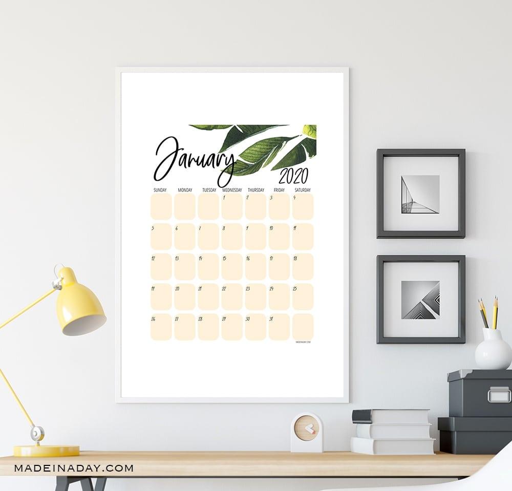 2020 Printable calendar, botanical, palm leaf, tropical palm, house plant, plant leaf, green leaf