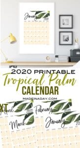 New Tropical Plant 2020 Printable Calendar 1