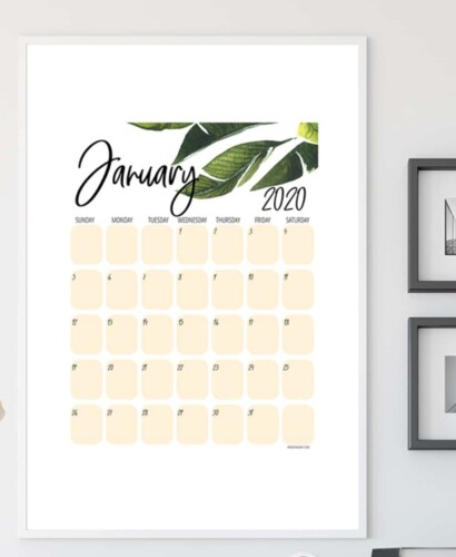 New Tropical Plant 2020 Printable Calendar 36