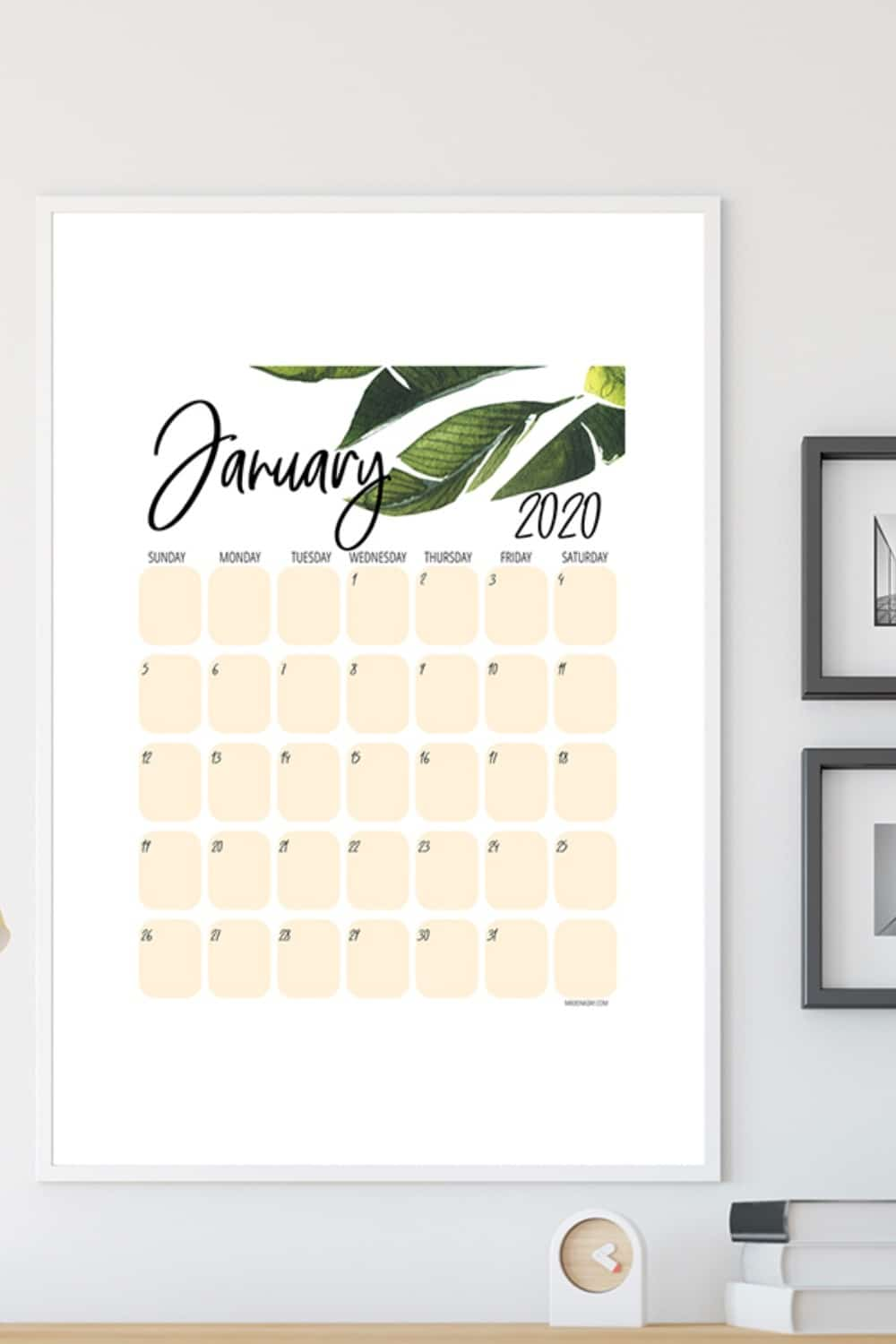 New Tropical Plant 2020 Printable Calendar